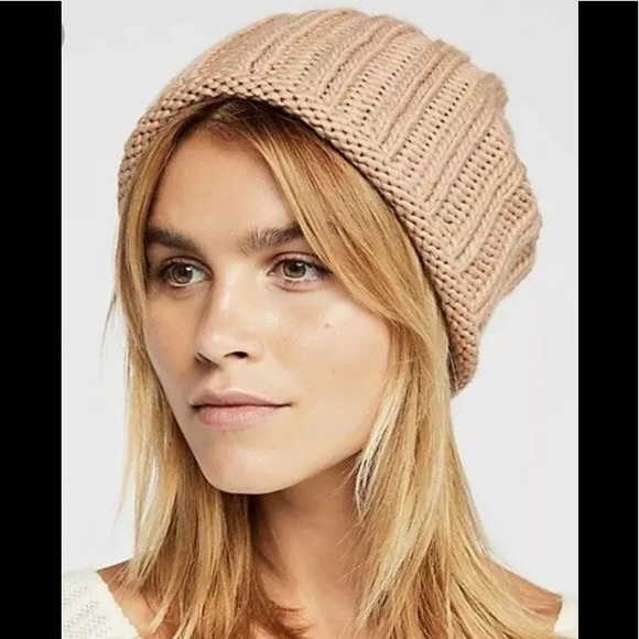 08d9f30419cf0c Free People Accessories | Rory Ribbed Knit Slouch Beanie Hat Tan ...